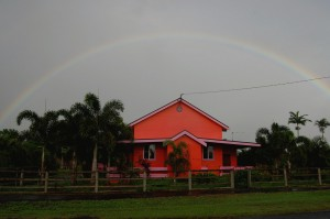 Rainbow over the lodge
