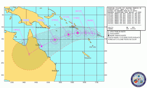 Tropical Cyclone Yasi Track Map