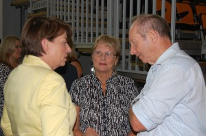Ian and Nola Adcock chatting with Anna Bligh