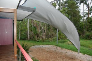 Shade sail that suffered in last night's wind