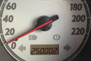 Honda Jazz odometer showing 250,000 km